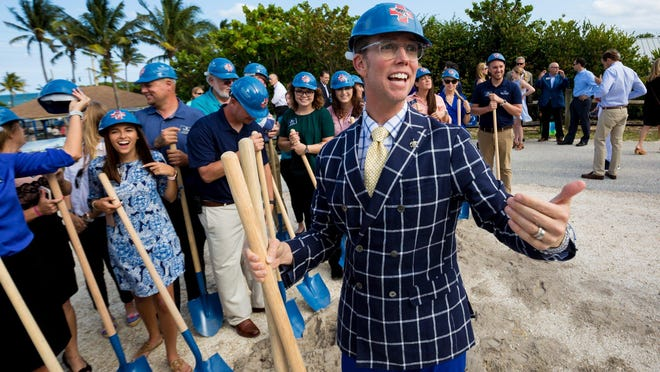 President and CEO Jack Lighton calls for staff members  during a groundbreaking for the Loggerhead Marinelife Center 27,500-square-foot expansion in 2019 in Juno Beach.  [RICHARD GRAULICH/palmbeachpost.com].