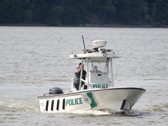 A New York State Parks Police boat returning to the