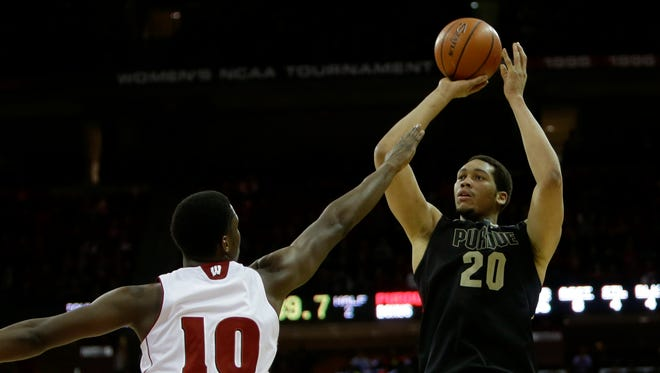 A.J. Hammons #20 of the Purdue Boilermakers pulls up for a two pointer during the second half against the Wisconsin Badgers at Kohl Center on March 5, 2014 in Madison, Wisconsin.