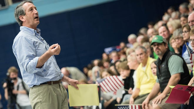 Rep. Mark Sanford, R-S.C., addresses the crowd during a town hall meeting March 18, 2017 in Hilton Head, South Carolina.