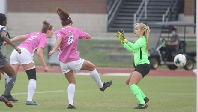 Missouri senior Grace Kitts (5) scores on a header early in the first half Saturday against No. 13 Vanderbilt in Southeastern Conference action at Audrey J. Walton Soccer Stadium. The Tigers knocked off the Commodores 2-1.