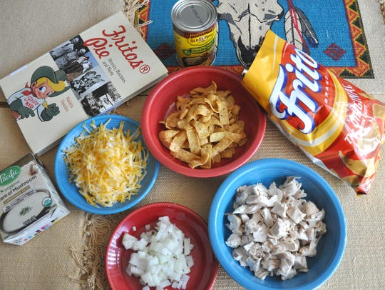 Chicken Fritos Pie features the corn chip topped with