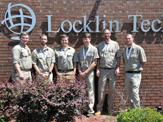 Locklin Technical Center's electricity program adult student medalists are, from left, Andrew Floyd, William Brown, Austin Martin, Alex Brummett, Tommy Barker and Michael Lumley.