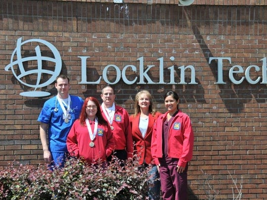 Locklin Technical Center's practical nursing program adult student medalists are, Mathew Liveoak, from left, Rachel Thurman, Brian Deily, Sarah Thomas and Heather Robey. Not pictured are Franicine Gipson, Felicity Hall, Tamara Mathews and Amber Williams.