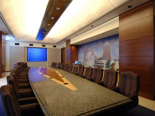 The executive boardroom in the top floors of the Legacy Tower.