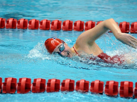 Julie Brown in the water for the Red Raiders. Photo submitted by Shippensburg University.