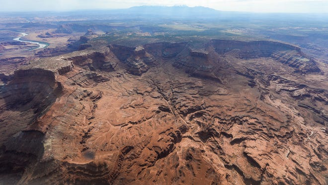 This May 23, 2016, file photo, shows Lockhart Basin, south of the Colorado River, within the boundary of the Bears Ears region in southeastern Utah. President Barack Obama designated two national monuments Wednesday, Dec. 28, at sites in Utah and Nevada that have become key flashpoints over use of public land in the U.S. West. (Francisco Kjolseth/The Salt Lake Tribune via AP, File)