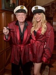 Hugh Hefner and Crystal Hefner attend Playboy Mansion's
