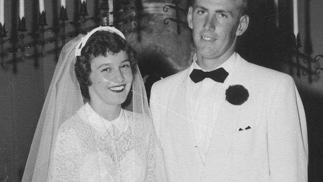 Mr. and Mrs. Lloyd Aberle on their wedding day.
