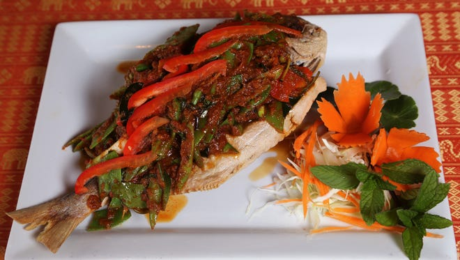 Spicy pompano with Thai herbal sauce at Bangkokville.