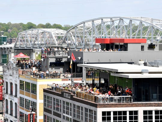 The roof top view from Ole Red Honky Tonk at the corner