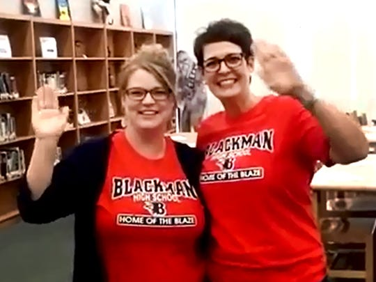 Faculty and staff from Blackman High School appear in a virtual get-well greeting for local waving man Paul Tidwell.