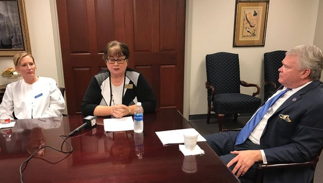 """Marilyn Cooksey, dean of Louisiana College's School of Nursing and Allied Health, says the school's nursing program will be placed on """"conditional approval"""" status by the Louisiana State Board of Nursing on Feb. 16. Officials called a press conference Tuesday to talk about what it will mean for the school."""