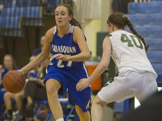 Manasquan's Michaela Mabrey drives past Seneca's Erica