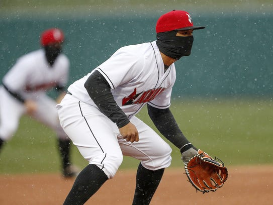 Indianapolis Indians third baseman Jose Osuna (13)