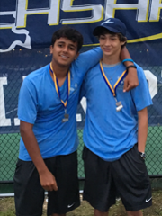 Ascension Episcopal's Jacob Abdella, right, and Mustafa Alam finished as boys doubles runners-up.