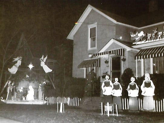 A Christmas display in the yard of the Tressler family