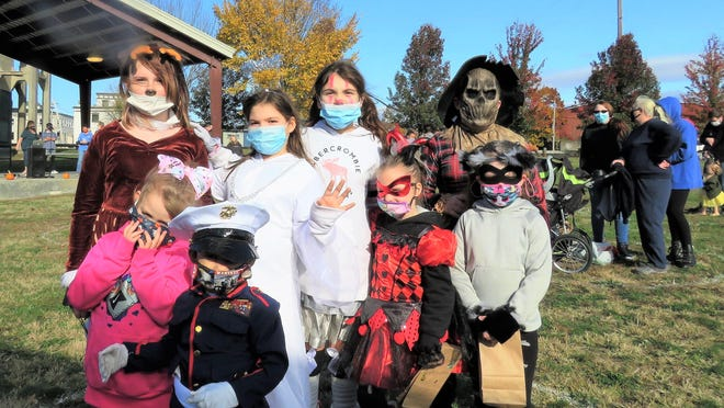 Among those attending the Port Jervis Halloween Party last Sunday were, from left, back row: Lydia Kowalczik, Jazmyne Mahoney, Brooklyn Spofford, Ayden Mahoney. Front row:  Braylyn Decker, Lucas Bragg, Kayleiana Mahoney, Elayna Mahoney.