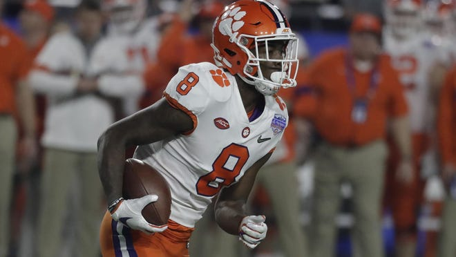 Clemson wide receiver Justyn Ross (8) during the first half of the Fiesta Bowl game against Ohio State on Dec. 28, 2019 in Glendale, Ariz.
