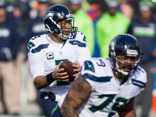 Seattle Seahawks quarterback Russell Wilson (3) drops back to pass during the first quarter against the San Francisco 49ers at Levis Stadium. Wilson has a 7-3 record in the postseason.
