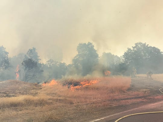 A fire burned about 10 acres near Quartz Hill Road and Terra Nova Drive in north Redding on Sunday afternoon.