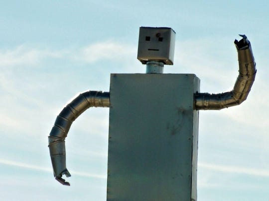 In this video frame grab taken on June 29, 2013, shows a robot sentry that was created by Zaq Lansberg on the land he purchased in Ten years ago in Box Elder County, Utah.