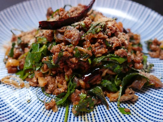 Duck larb — minced duck, toasted chilies, lemongrass and mint — at Katoi restaurant in Detroit's Corktown neighborhood on March 7, 2016.