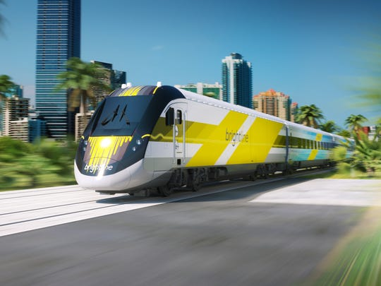 An artist's rendering of a Brightline passenger train.