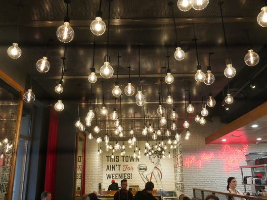 Lights hang from the ceiling at the Townhouse Detroit