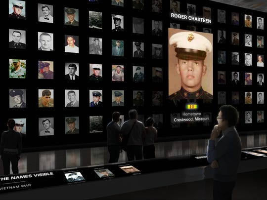 An artist's conception of a Wall of Faces exhibit as part of the planned Education Center at the Wall.