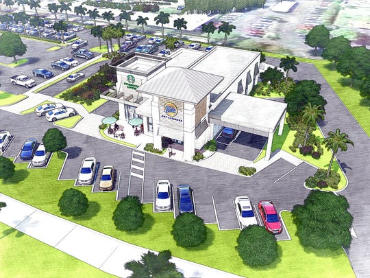 This rendering shows how Starbucks and Tide Dry Cleaners will share a building under construction on Old Trail Drive, just west of U.S. 41 and next to Park Shore Plaza in Naples.