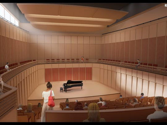 A rendering of a  new concert hall at the University