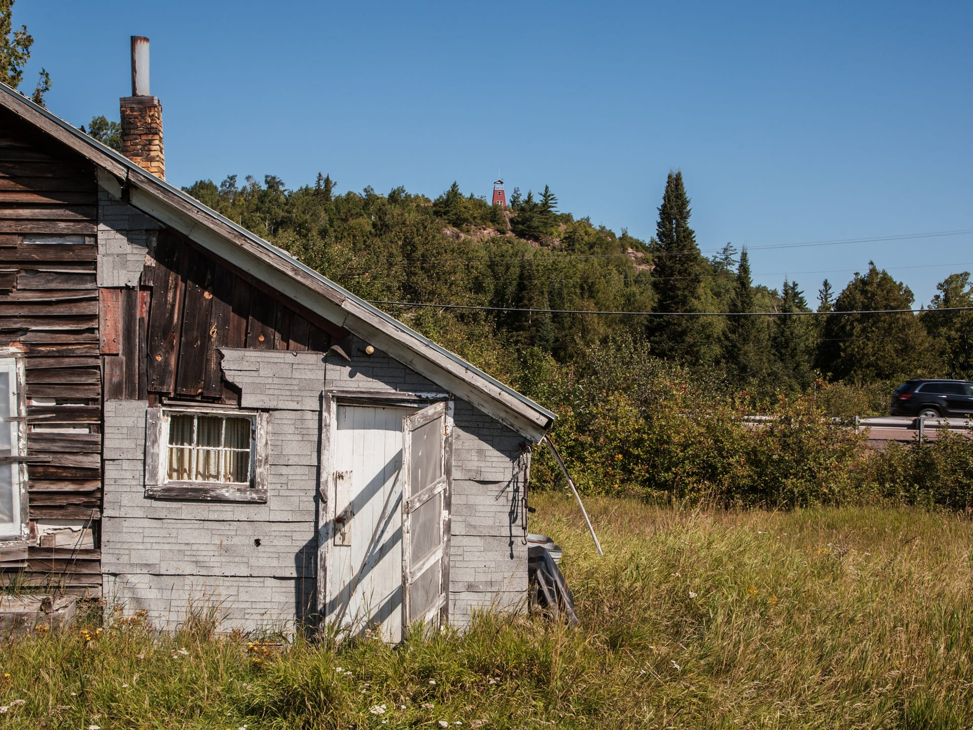 Empty houses, like this one seen on Aug. 22, 2017,