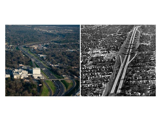 LEFT: An aerial view of I-85 in Montgomery, Ala., on Feb. 15, 2018. RIGHT: Construction of I-85 through downtown Montgomery in 1970.