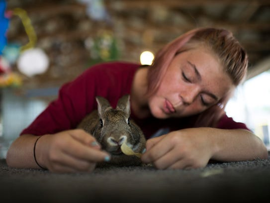 Madison Hoban, 15, treats her rabbit Nugget to a potato