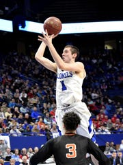 "CJ Fredrick of Covington Catholic eyes a short jump shot for the Colonels at the KHSAA Basktball Tournament ""Elite Eight"", Lexington, KY, March 16, 2018."