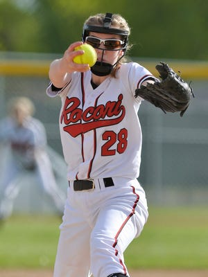 Rocori High School standout softball player Megan Gavin pitches in the second game of a double header against Fergus Falls Tuesday, May 17 at Rocori High School in Cold Spring.