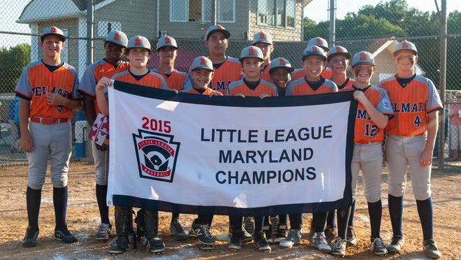 Delmar celebrates its 14-4 win over Bethesda during the 11-12 Little League Maryland Finals on Friday evening.