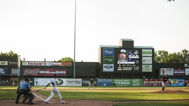 Vermont's Luis Barrera (16) hits the ball during the baseball game between the Connecticut Tigers and the Vermont Lake Monsters at Centennial Field on Sunday in Burlington.