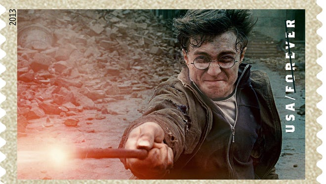 Daniel Radcliffe in the final movie in the Harry Potter series, a scene that now appears on a U.S. Postal Service Forever stamp.