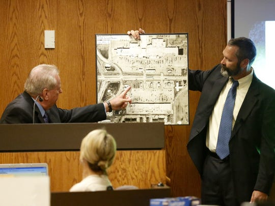 Retired Fond du Lac Police Detective Milt Swantz points to where Berit Beck's van was found during testimony Wednesday in the Dennis Brantner murder trial.
