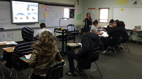 Tejas School of Choice students learn about types of heat transfer in a class.