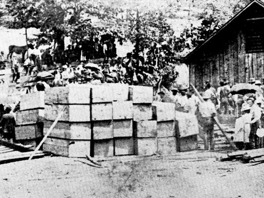 Coffins are collected for the 216 miners who were killed in the Fraterville Mine explosion in May 1902. It was Tennessee's worst mine disaster.