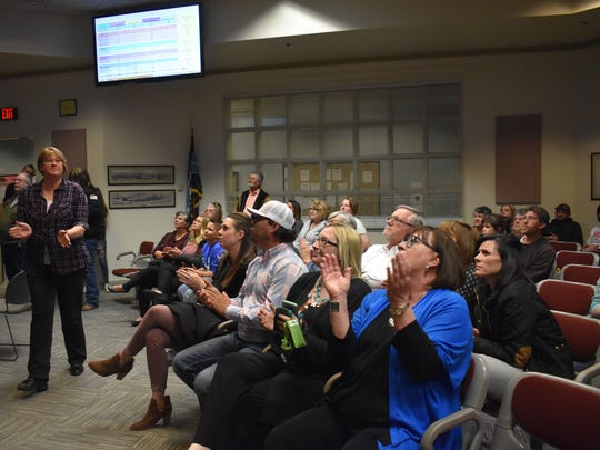 Residents react to the final numbers being entered in the 2018 municipal election. Unofficially, Richard Boss, Nadia Sikes, Josh Rardin and Dusty Wright claimed seats in their respective races.