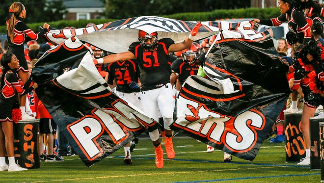 Somerville takes the field against North Plainfield in September 2016.