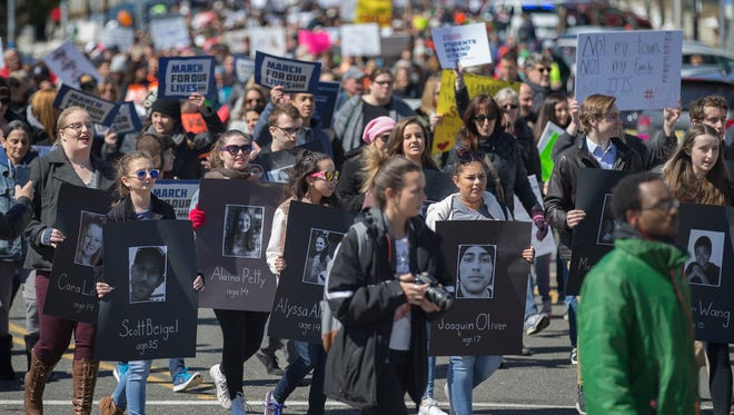 People of all ages attended the Asbury Park March For Our Lives rally. Protesters listened to speeches then marched on the boardwalk down to Bradley Park by Convention Hall on March 24, 2018.