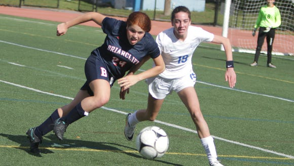 Action during a Section 1, Class B girls soccer quarterfinal