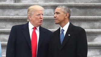 President Donald Trump and former president Barack Obama, Washington, Jan. 20, 2017.