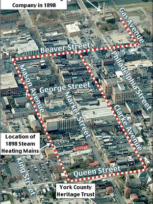 1898 District Steam Heating Mains shown on a Westward Looking Birds Eye Aerial View of Downtown York, PA (2016 Bing.com Birds Eye Aerial View, Annotated by S. H. Smith, 2016)