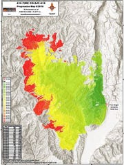 Red areas indicate areas where the 416 fire near Durango,